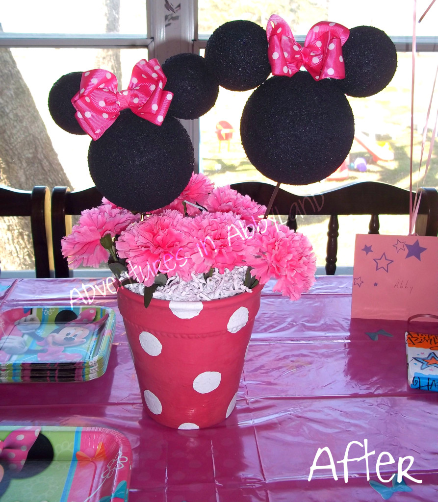Minnie Mouse Flower Pot Centerpiece